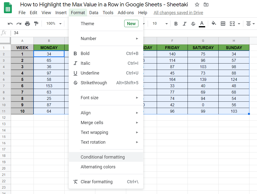 Highlight the Max Value in a Row in Google Sheets