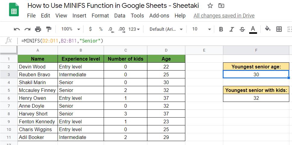 MINIFS Function in Google Sheets
