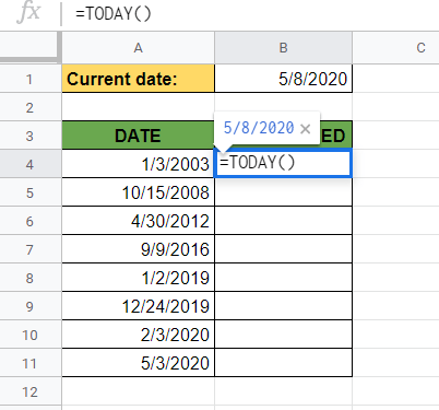 TODAY Function in Google Sheets