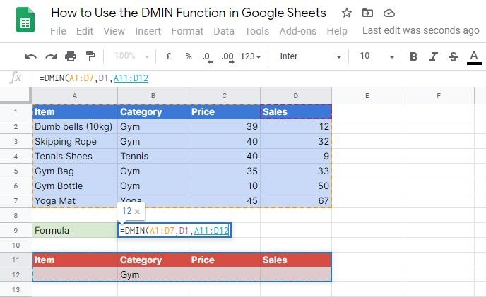 DMIN Function in Google Sheets