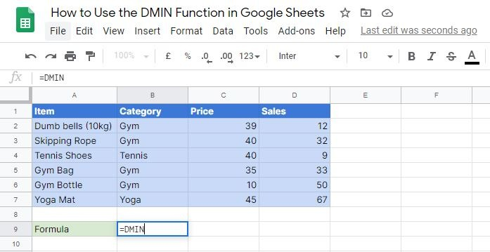 Writing the DMIN function