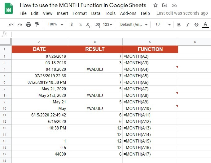 How to use the MONTH function in Google Sheets