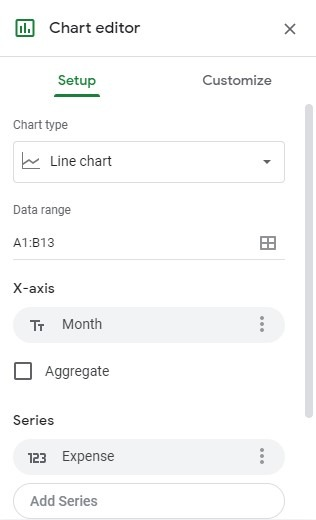 Add a chart and edit chart legend in Google Sheets