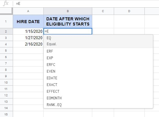 How to use the EOMONTH function in Google Sheets