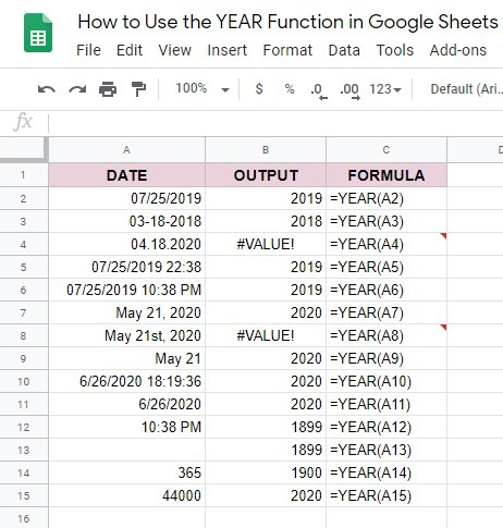 How to use the YEAR function in Google Sheets