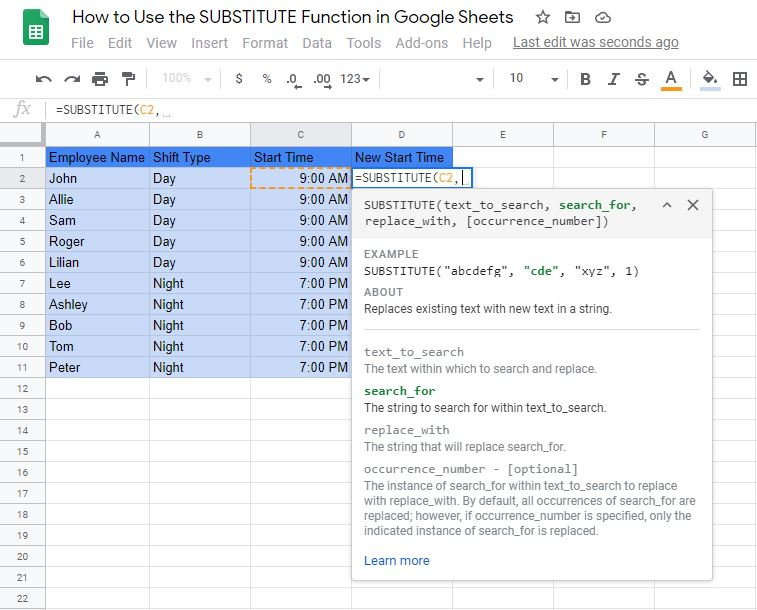SUBSTITUTE Function in Google Sheets