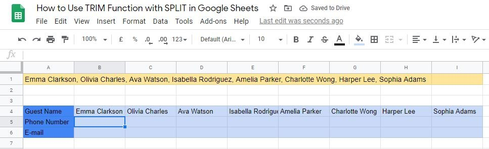 TRIM Function with SPLIT in Google Sheets