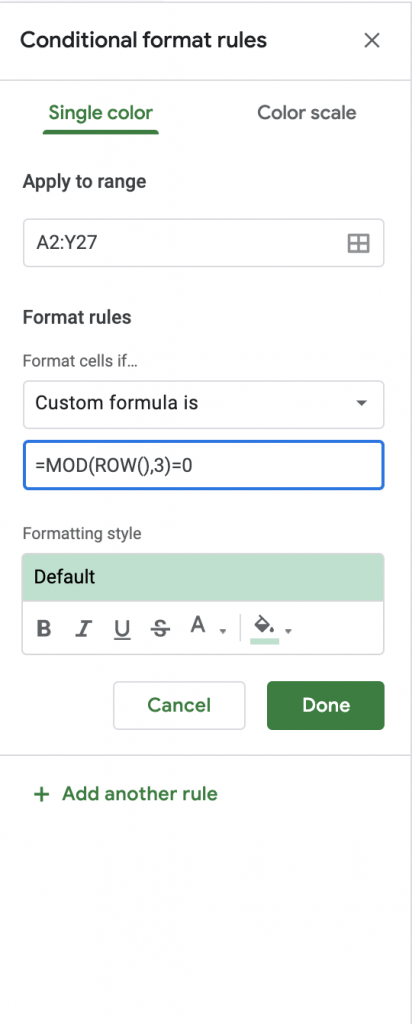 How to Highlight a Set of Alternate Rows in Google Sheets
