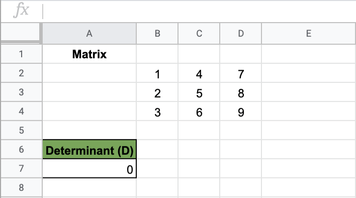 MDETERM Function in Google Sheets