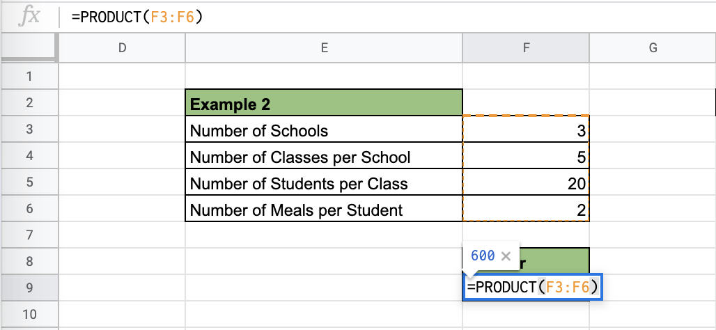 How to Use PRODUCT Function in Google Sheets