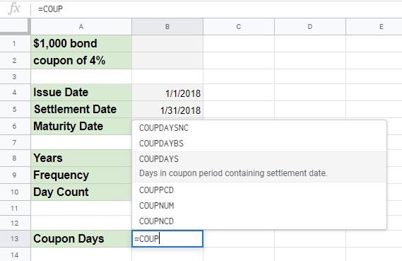 How to use COUPDAYS function in Google Sheets