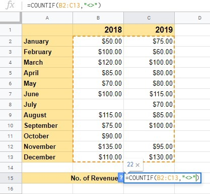 How to Count Cells with Text in Google Sheets