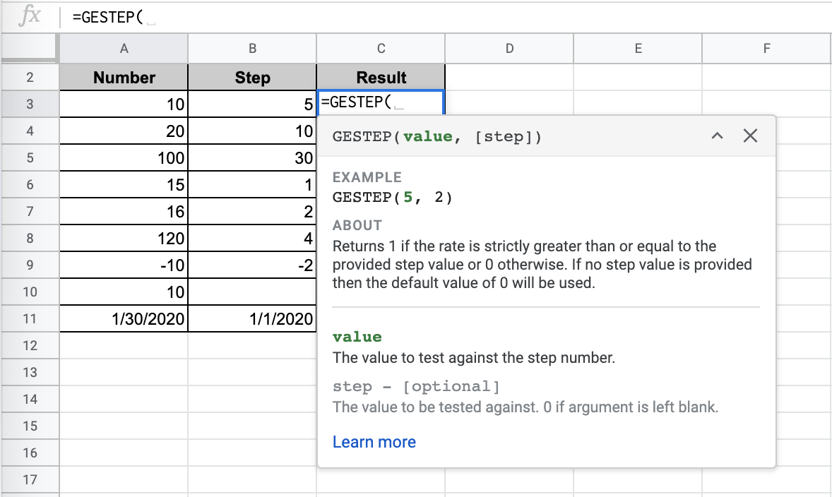 How to Use GESTEP Function in Google Sheets