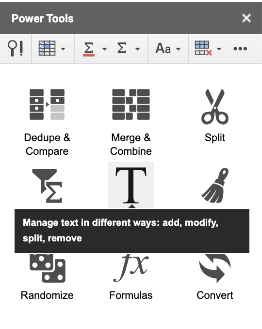Text Option in Power Tools Add-On