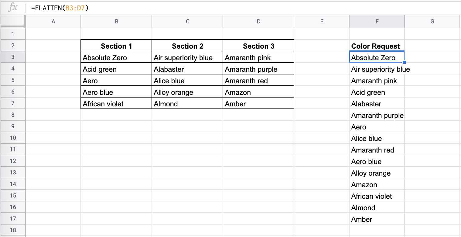 How to Use FLATTEN Function in Google Sheets