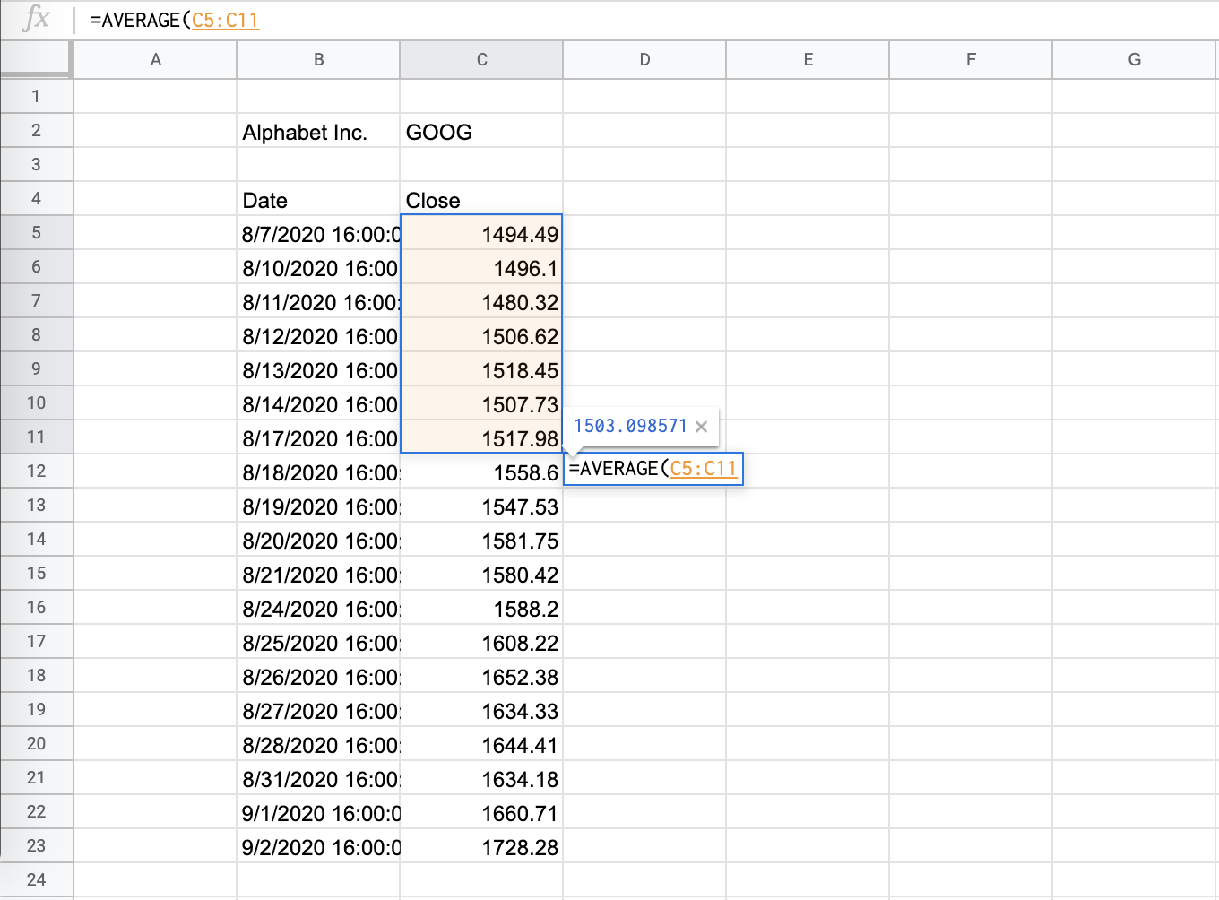 How to Calculate the Simple Moving Average in Google Sheets