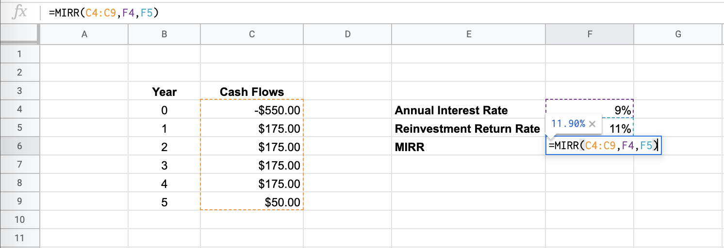 How to Use the MIRR Function in Google Sheets