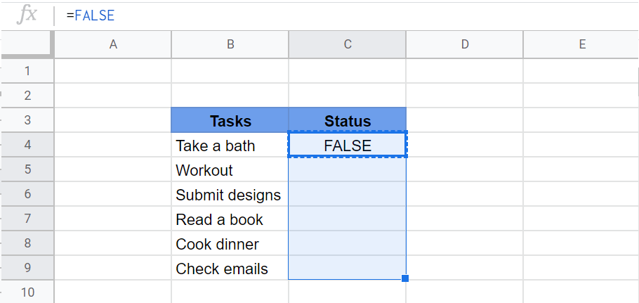 use false function in google sheets
