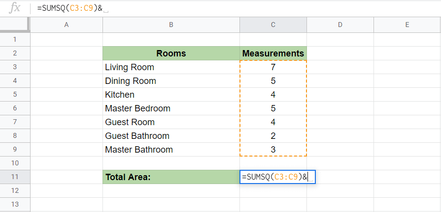 Use SUMSQ Function in Google Sheets