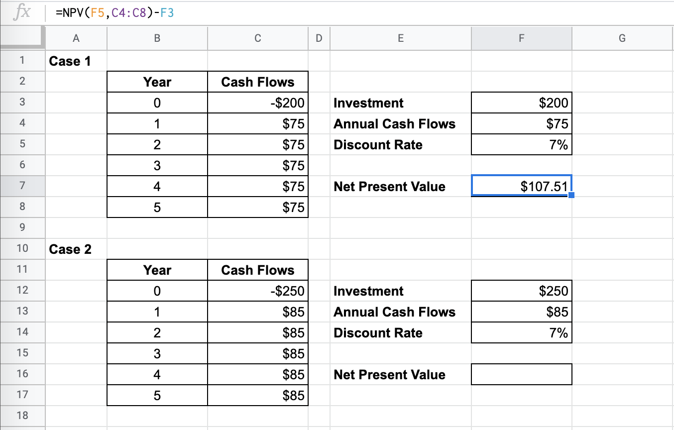 How to use NPV Function in Google Sheets