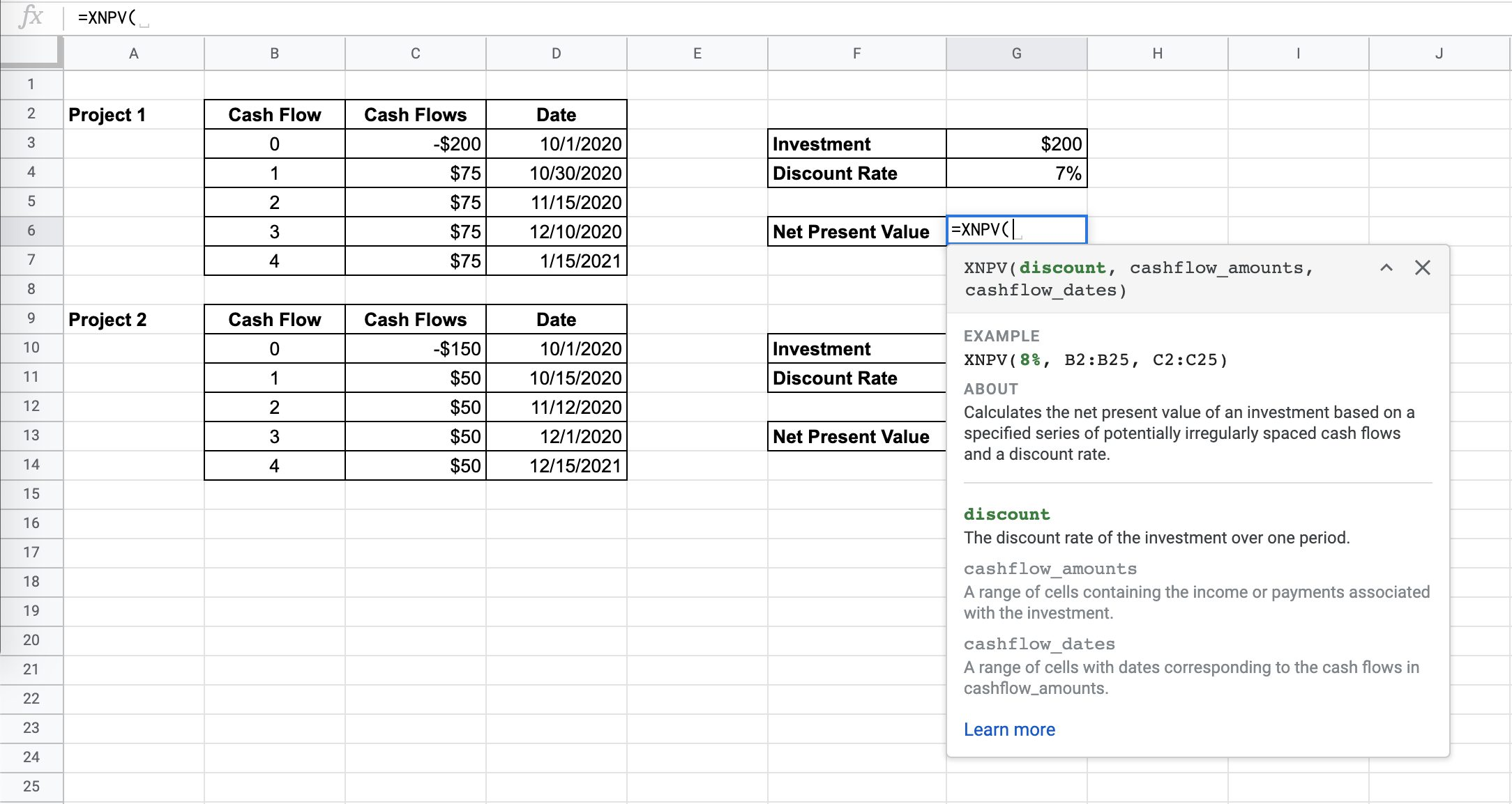 How to Use XNPV Function in Google Sheets