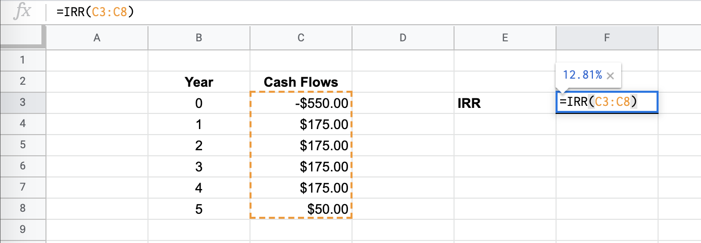 How to Use the IRR Function in Google Sheets