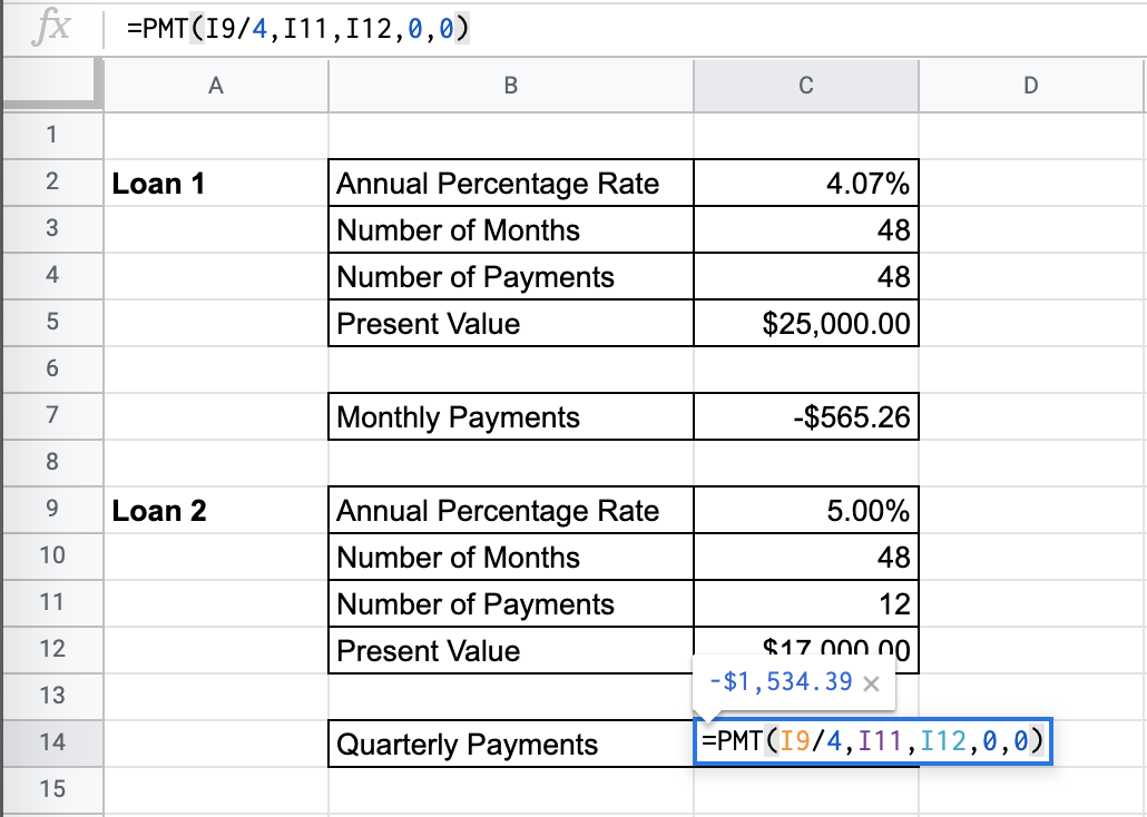 How to Use the PMT Function in Google Sheets