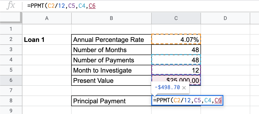 How to Use PPMT Function in Google Sheets
