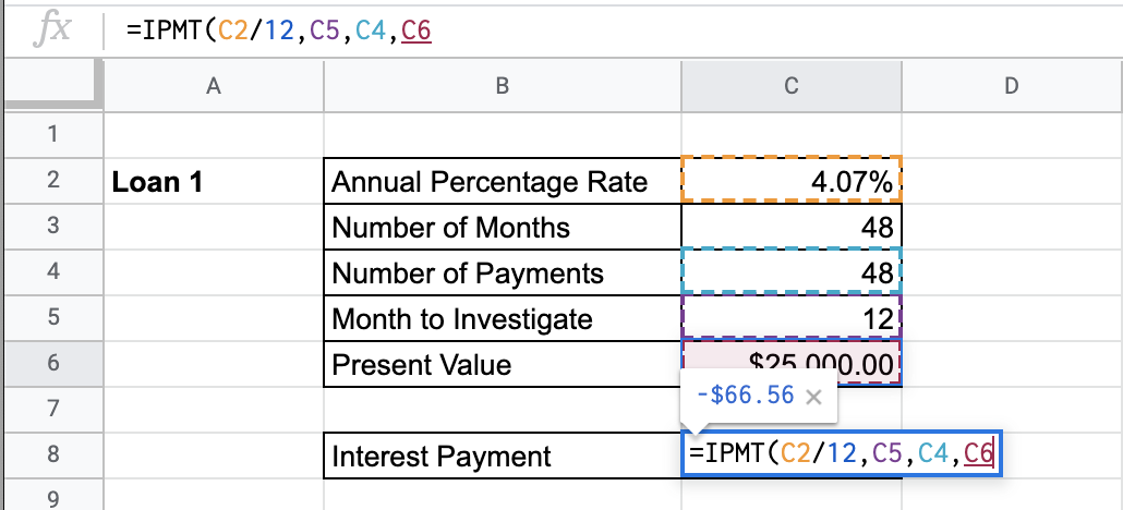 How to Use IPMT Function in Google Sheets