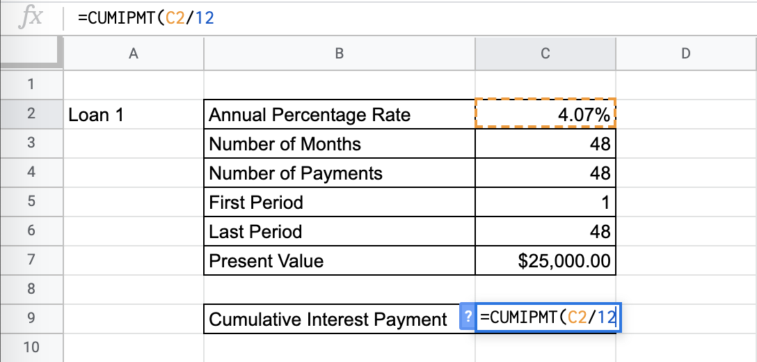How to Use CUMIPMT Function in Google Sheets
