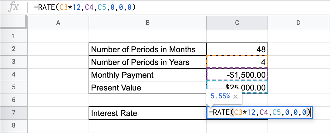 How to Use the RATE Function in Google Sheets