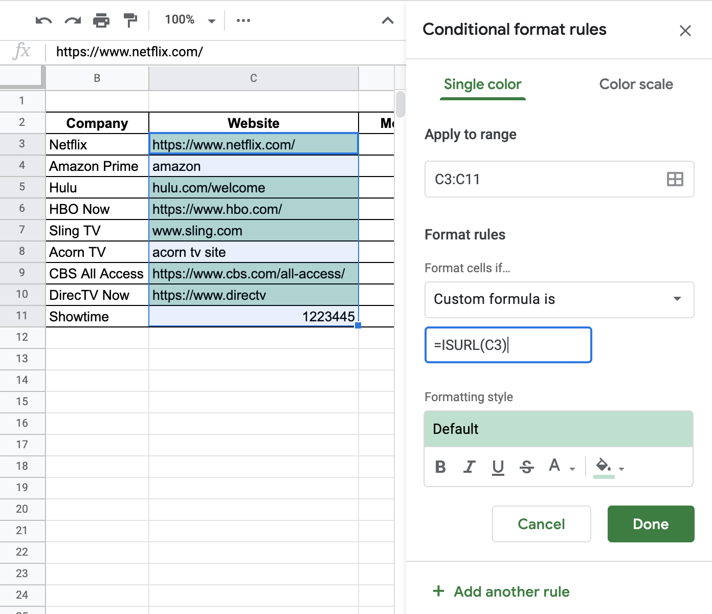 How to Use ISURL Function in Google Sheets
