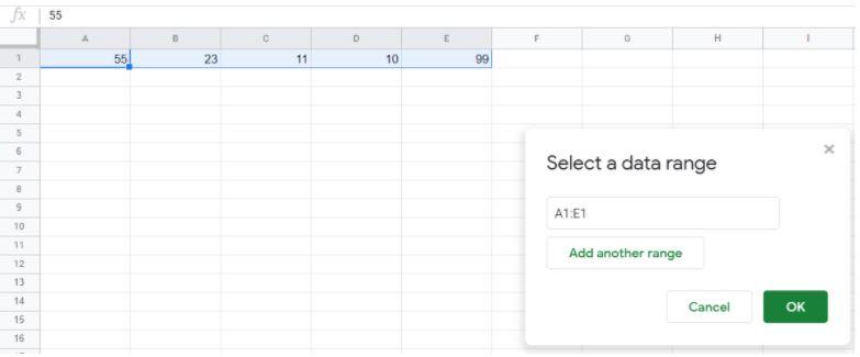 Select data range tab
