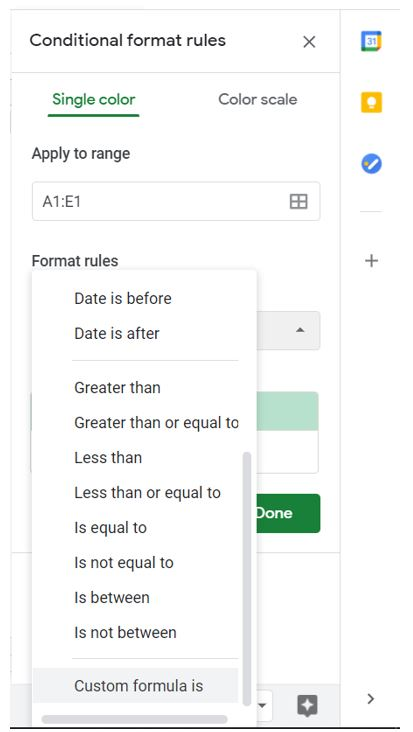 Conditional formatting rules menu