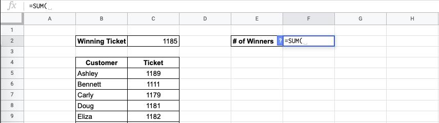 SUM Formula in Google Sheets