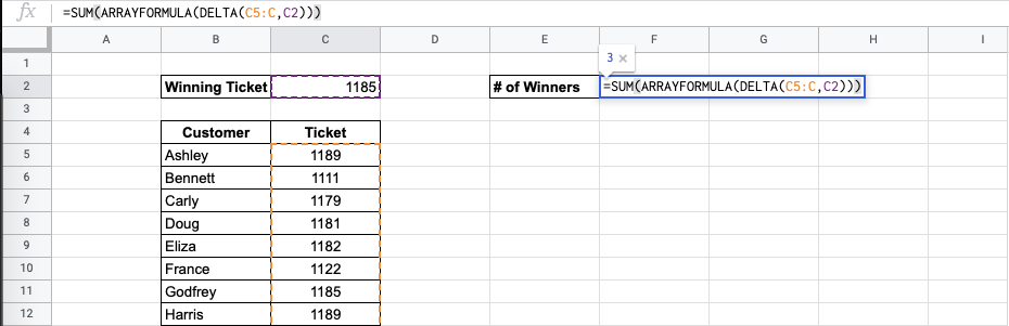 How to Use the DELTA Function in Google Sheets