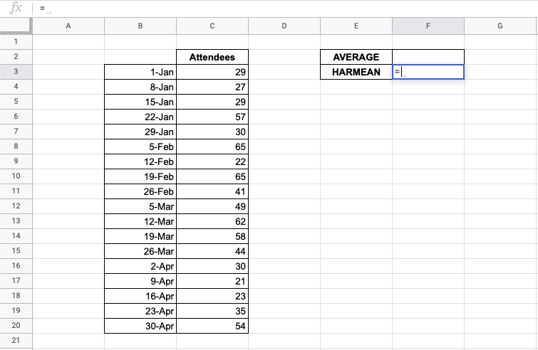 How to Use HARMEAN Function in Google Sheets