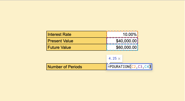 How to Use the PDURATION Function in Google Sheets