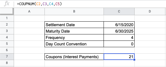 How to Use COUPNUM Function in Google Sheets