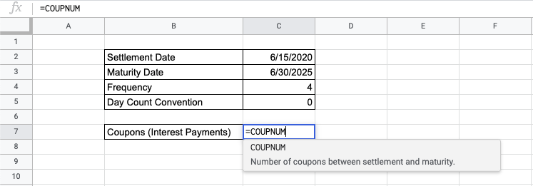 How to Use the COUPNUM Function in Google Sheets