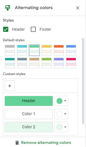 Alternating Colors Option