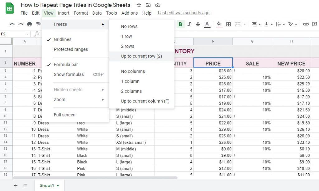 How to Repeat Page Titles in Google Sheets