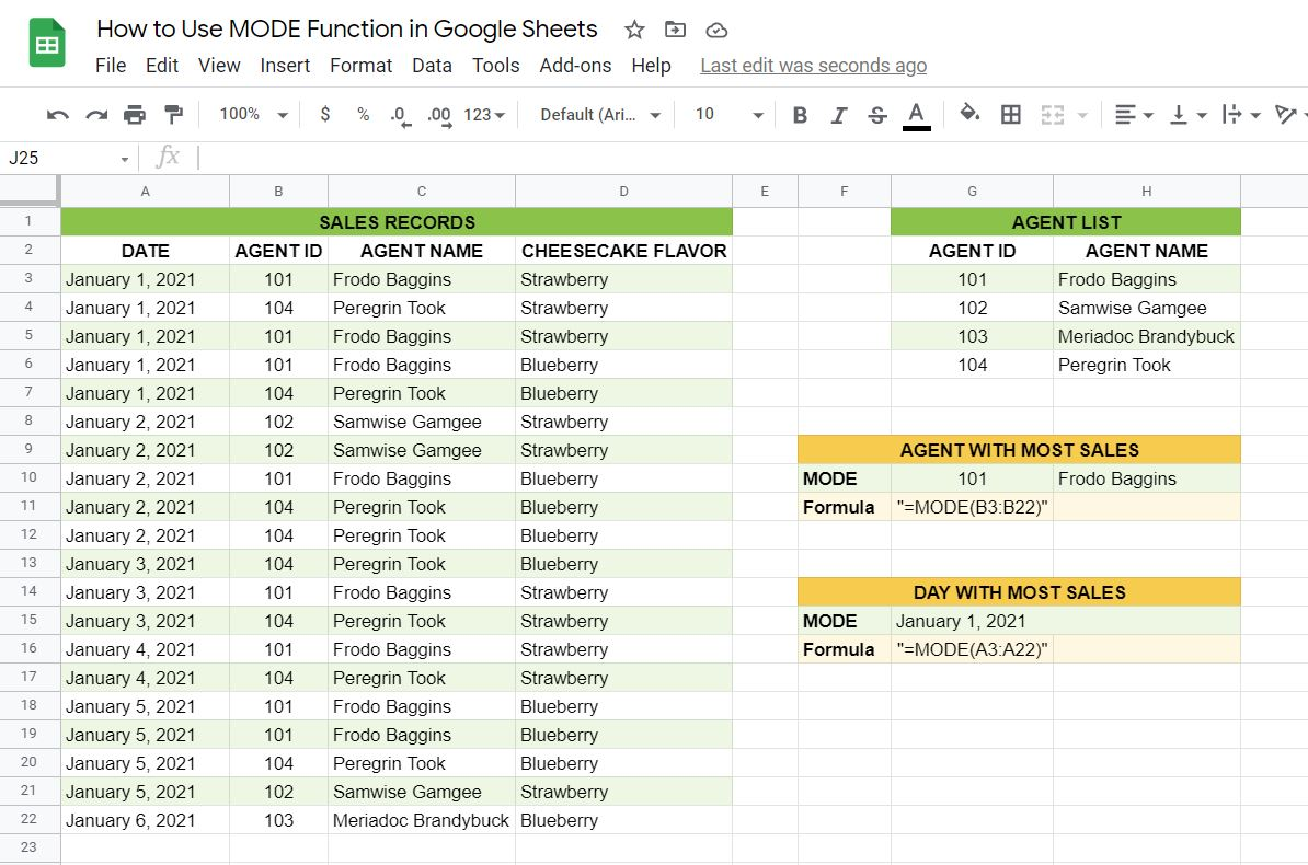 A real example of the MODE function in Google Sheets