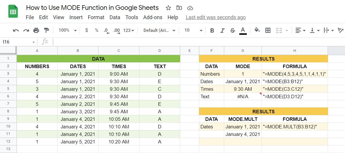 MODE and MODE.MULT function in Google Sheets