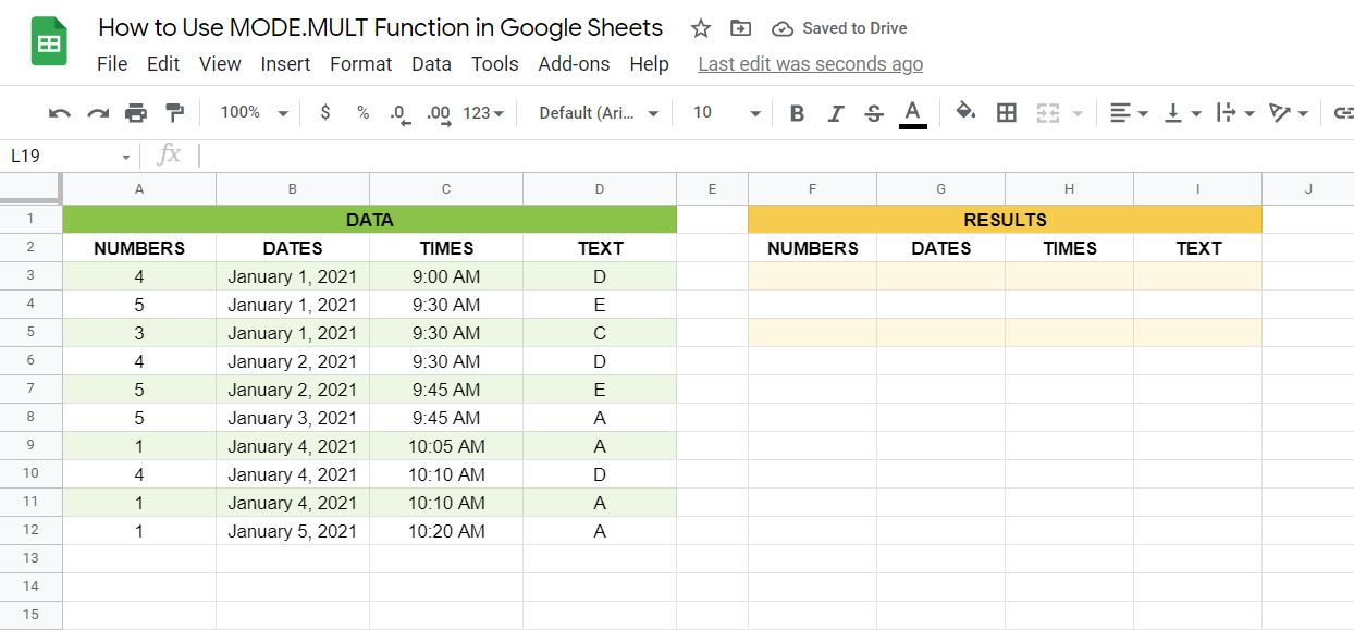 A real example of the MODE.MULT function in Google Sheets