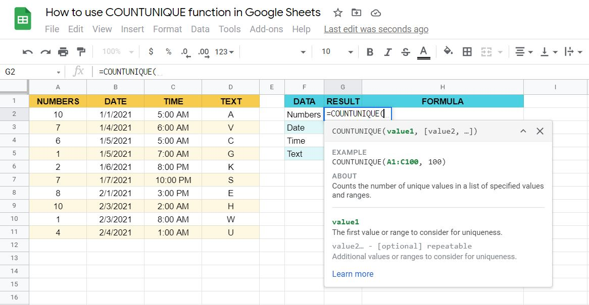 syntax of the COUNTUNIQUE function in Google Sheets
