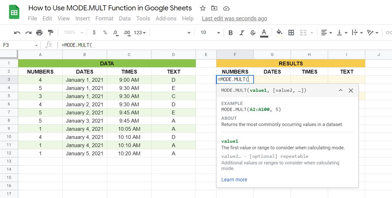 Syntax of the Mode.Mult function in Google Sheets