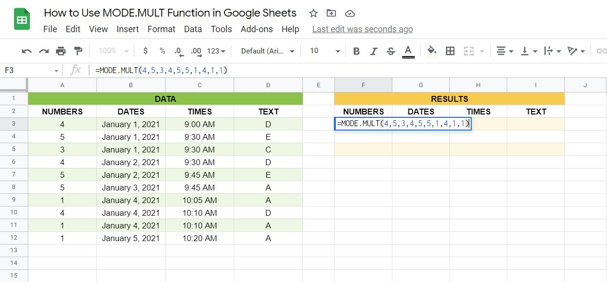 One way of writing the MODE.MULT function in Google Sheets