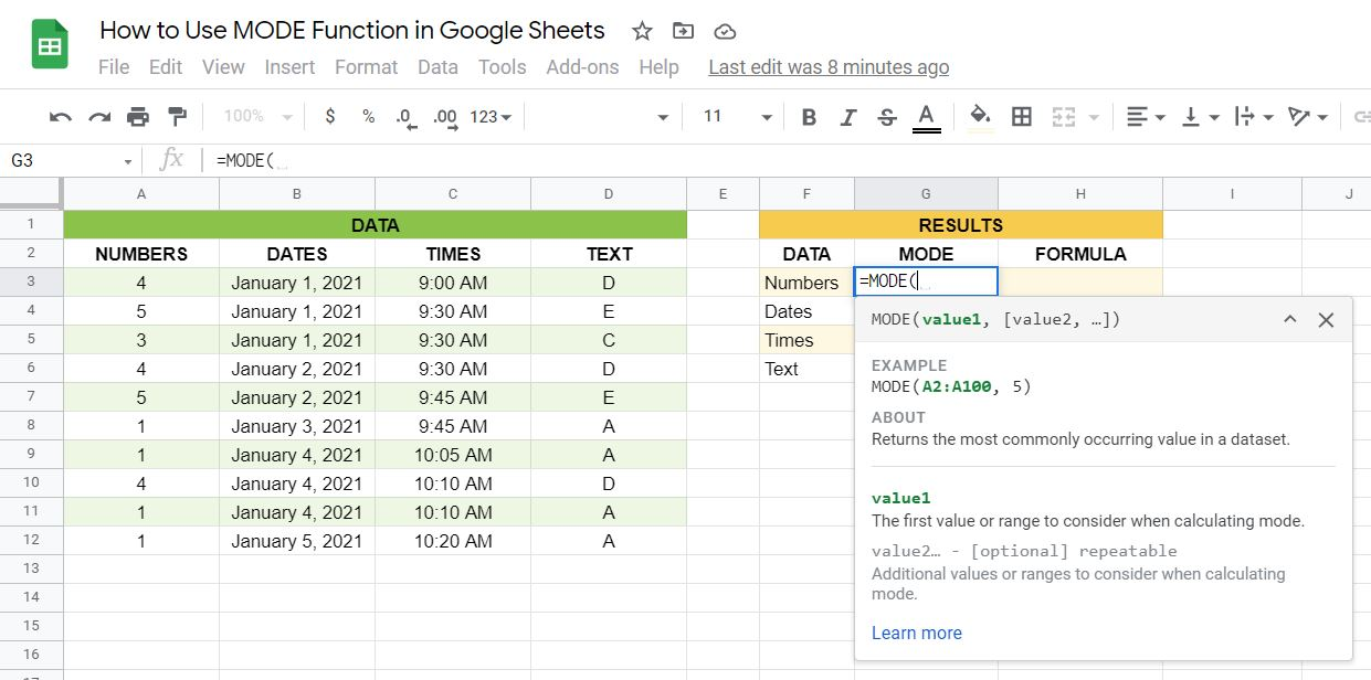 MODE function syntax in Google Sheets