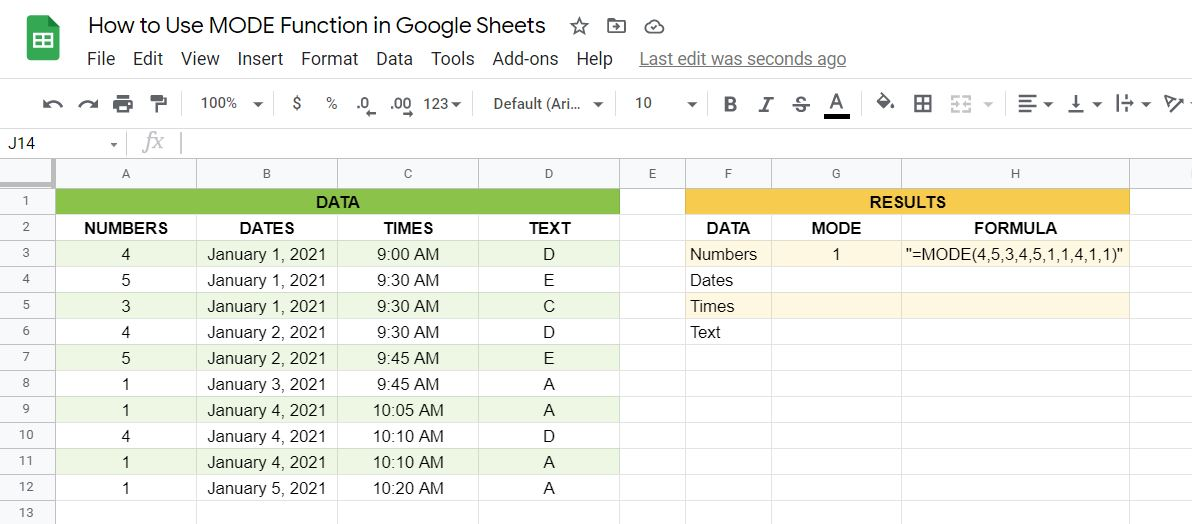Result and formula of the MODE function in Google Sheets